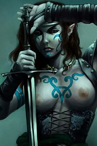 A bare-breasted elf woman with Celtic tattoos wields a large sword.