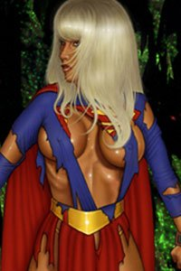A blond superhero is chained with her huge breasts visible under her tattered costume.