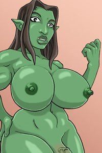 A nude orc futa from World of Warcraft with huge breasts.