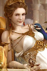 A pale woman wearing elaborate jewelry and a revealing greek robe holds a small scorpion in her hand.