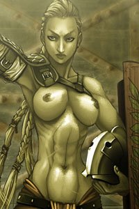 A bare-breasted muscular woman in Roman armor stands triumphantly.