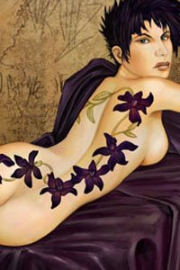 A naked, tattooed woman with short black hair lying on a divan.