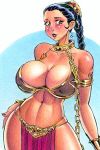 An embarrassed, huge-breasted Princess Leia reveals her slave costume.