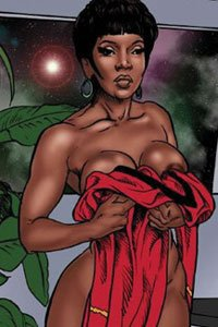 A shapely dark-skinned communications officer stands naked, holding her red uniform dress over her large breasts.