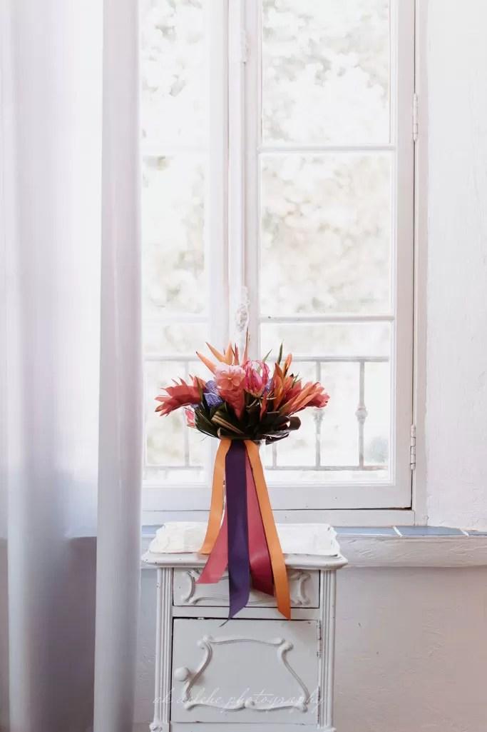Détails bouquet colorés mariée-bouquet multi-color mariée-bouquet ruban colorés mariée