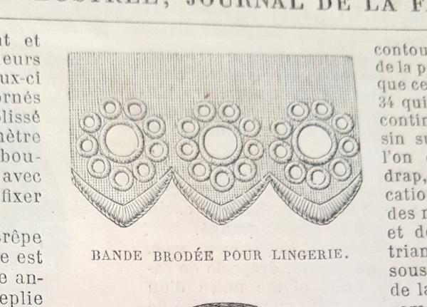 Bande brodée pour lingerie, La Mode Illustrée, 21 novembre 1880