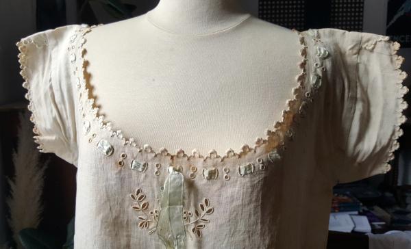 chemise ancienne 1880 festonnée