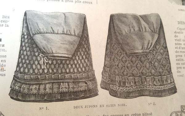 Jupons en satin noir, La Mode Illustrée, 21 novembre 1880
