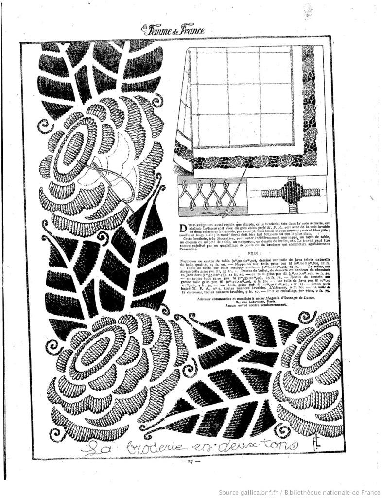 exemple de broderie, 25 mai 1924, Les Modes de la femme de France