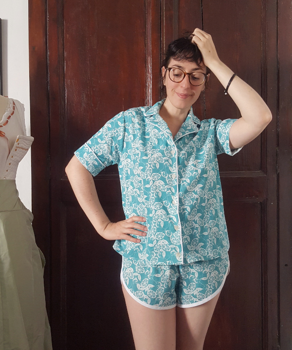Pyjama amour en popeline de coton imprimé Amandine Cha