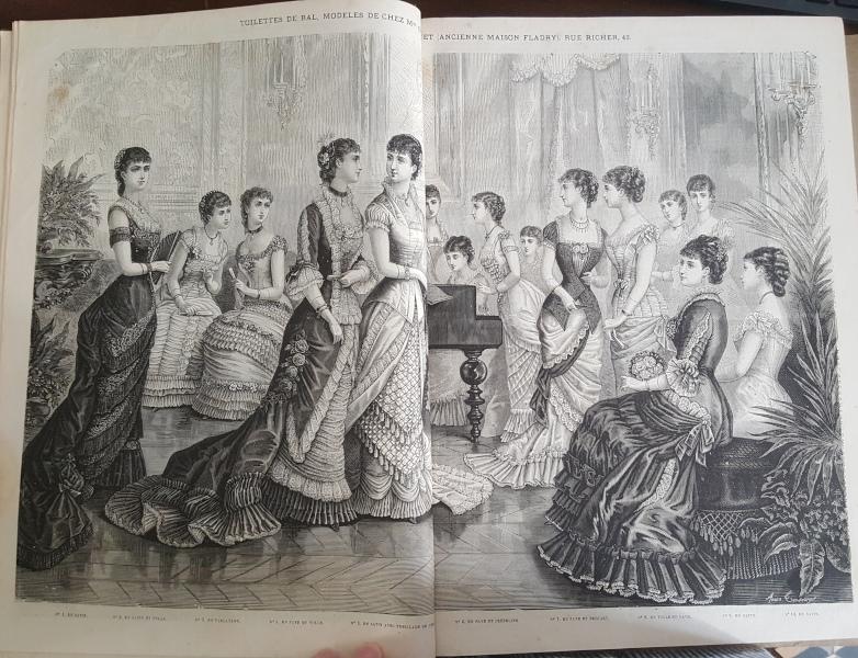 Double page de tenues de bal La Mode Illustrée, 4 janvier 1880