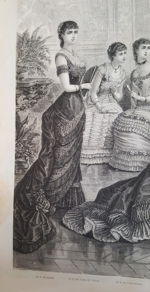 toilette de bal en satin, La Mode Illustrée 4 janvier 1880