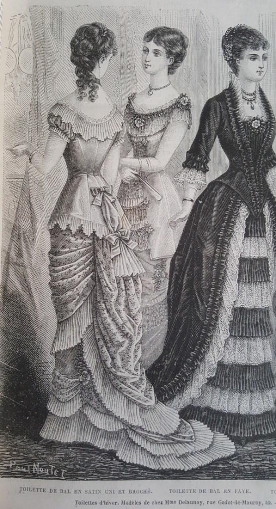 Toilette de bal en satin uni et broché, La Mode Illustrée, 8 février 1880