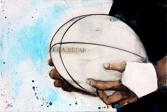 Art sport rugby : peinture sur toile d'un ballon de rugby