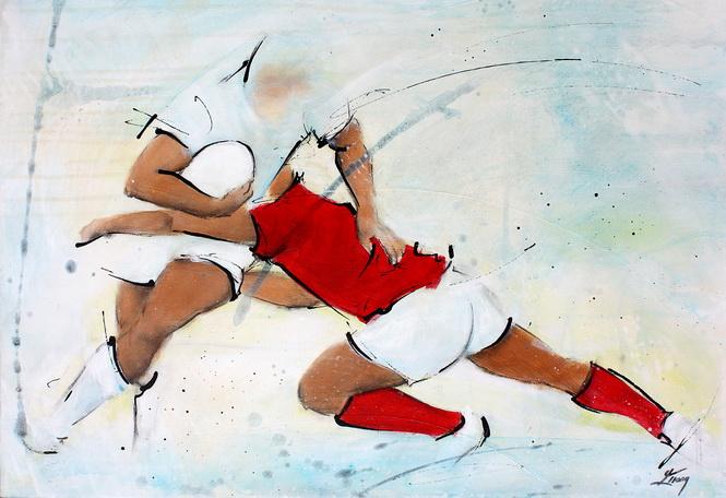 Art sport rugby : Peinture sur toile de la défense du Pays de Galles face à l'angleterre
