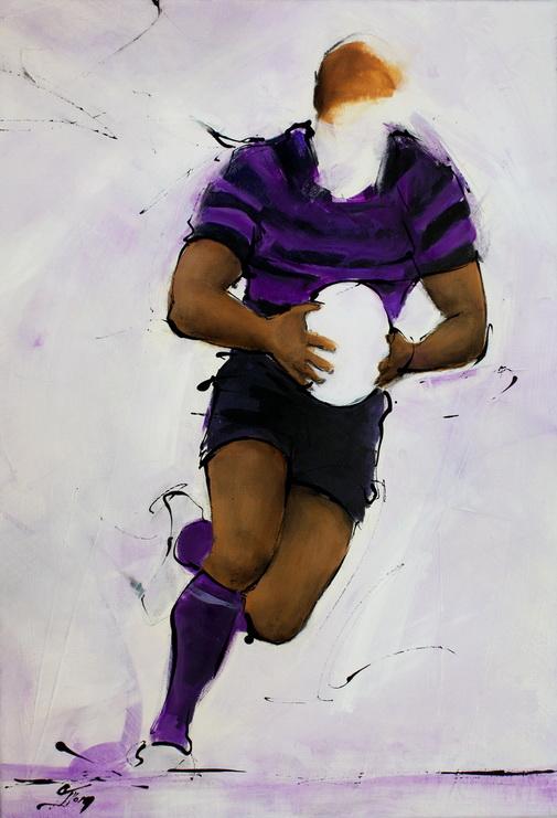 Art sport rugby : Peinture sur toile d'un joueur de l'USI d'Issoire en mauve et noir