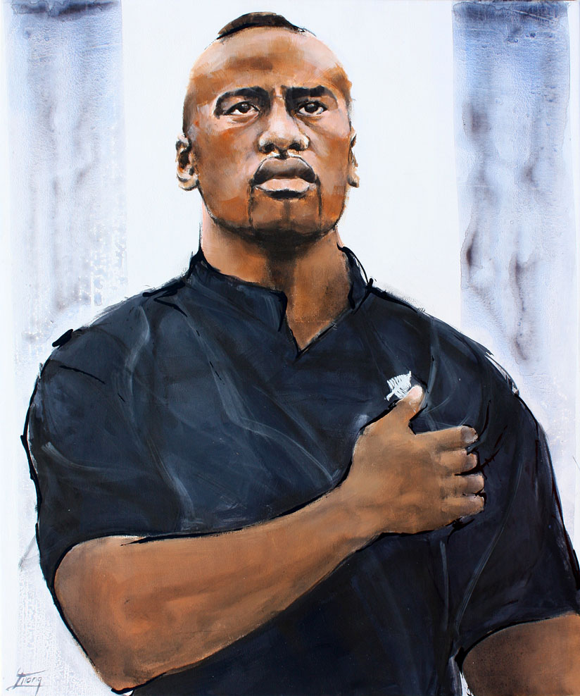 Painting art sport rugby : the legend all blacks jonah lomu by Lucie LLONG, artist of movement