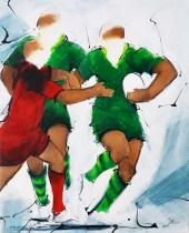 Art sport rugby : Peinture sur toile de la section paloise vs stade toulousain en top 14