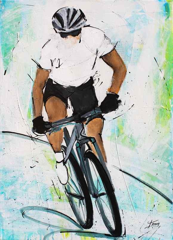 Tableau art sport cycle cyclisme : Peinture sur toile sur le VTT (Vélo Tout Terrain)