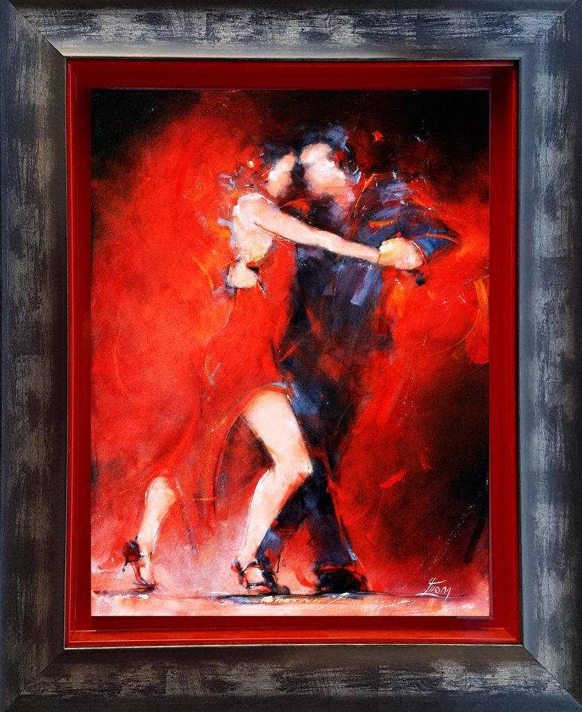 Framed red tango painting by Lucie LLONG, sport and dance painter