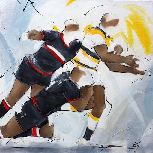 Art tableau sport rugby : Peinture sur toile d'un match de rugby entre le stade toulousain et le stade Rochelais de La Rochelle au stade Marcel Deflandre TOP14