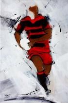 Art Rugby : L'oeuvre créée aux couleurs de L'USU (union Sportive Uselloise) à l'occasion de l'exposition de peinture sur le sport de Lucie LLONG, artiste peintre du mouvement à Ussel