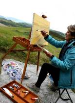 Les photos du stage de peinture sur le motif (en extérieur) animé par Lucie LLONG, artiste peintre sur les volcans auvergnats du puy de dome en Auvergne