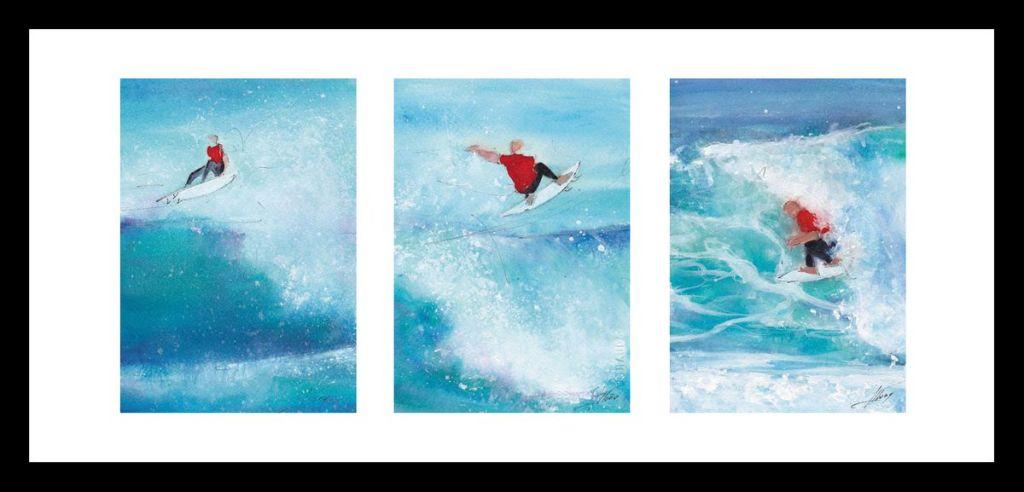 art peinture aquarelle sport surf : un surfer ride de grosses vagues sur la côte atlantique prés de Hossegor
