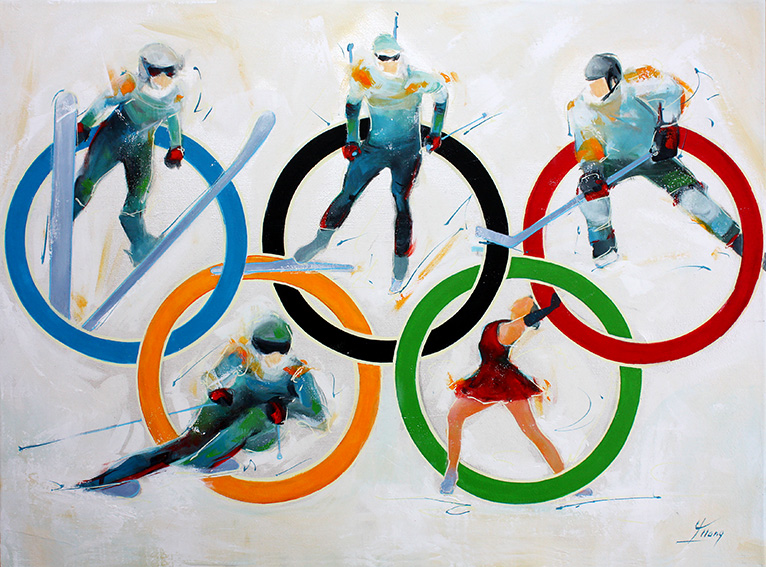 Art painting canavas sport JO winter Olympic games :  5 olympics sports - Ski jumping, ice hockey, ski, biathlon, figure skating