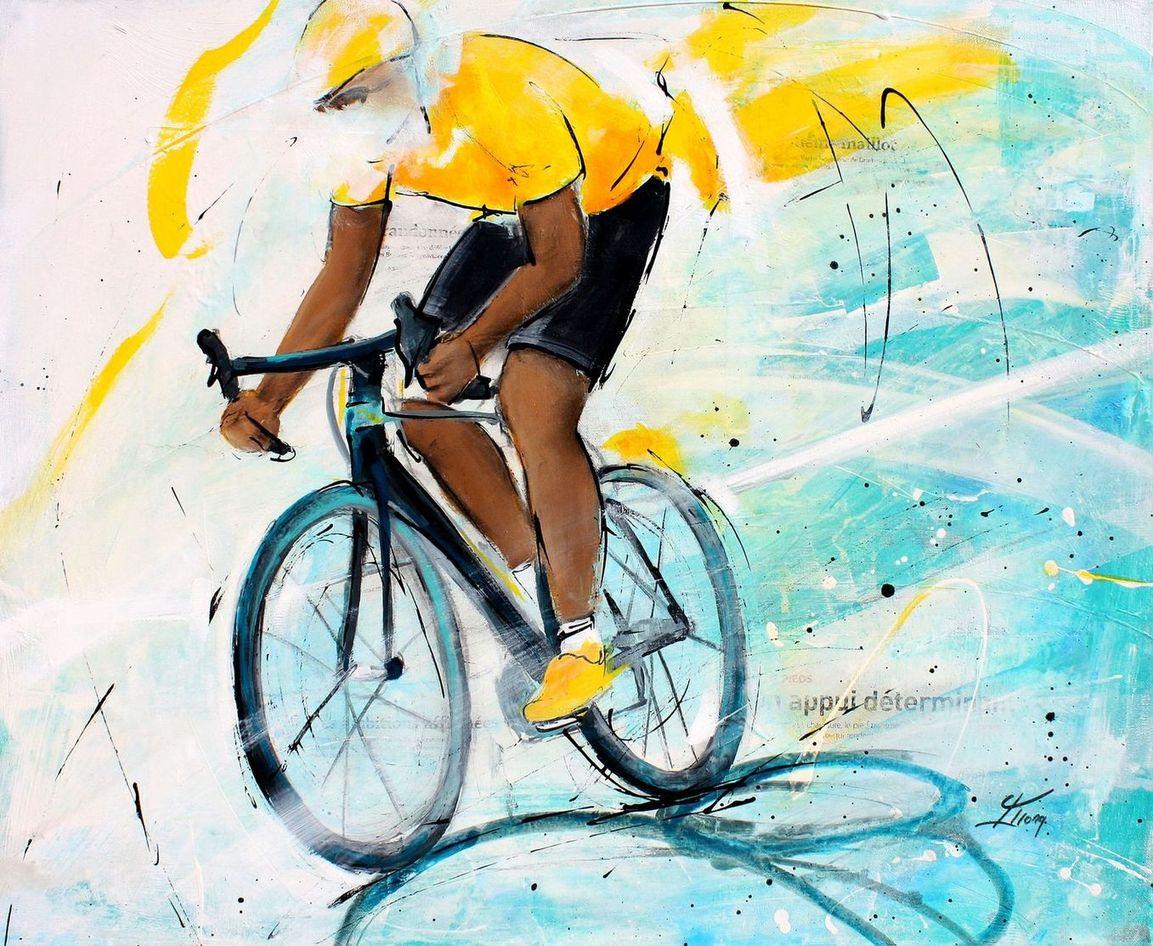 art tableau peinture sport cyclisme vélo : tableau du vainqueur du tour de France de cyclisme avec son maillot jaune