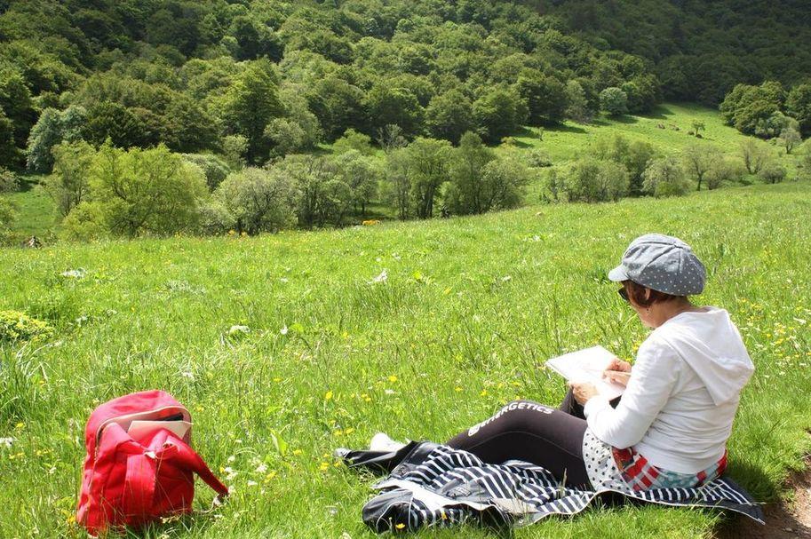 stage de peinture carnet de voyage vallée de chaudefour - Puy de Dôme - Auvergne par Lucie LLONG