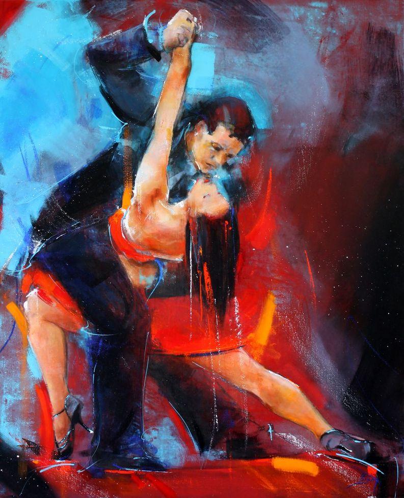 art artwork dance tango : Tango sensual acrylic painting of a dancing couple