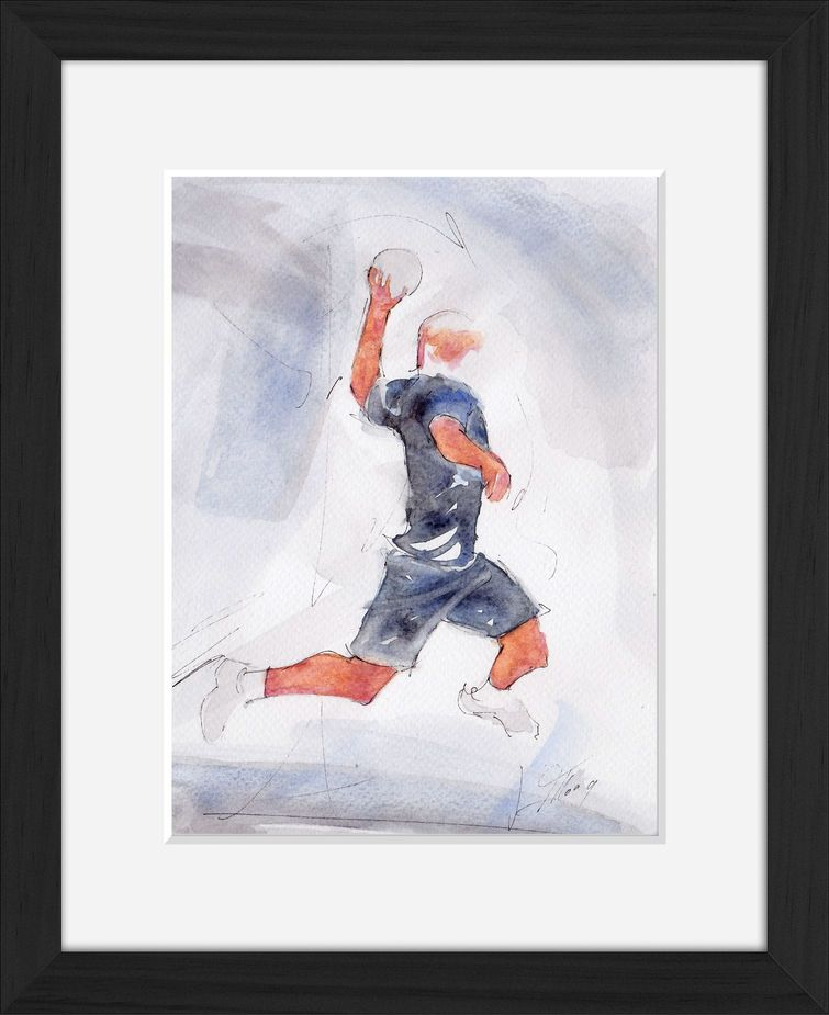 Peinture art et sport à l'aquarelle handball : tableau avec cadre d'un handballeur shootant en suspension
