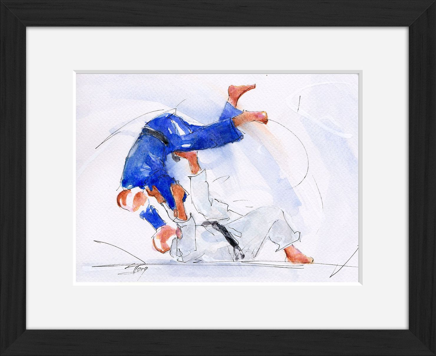 Framed judo watercolor painting by Lucie LLONG, sport painter