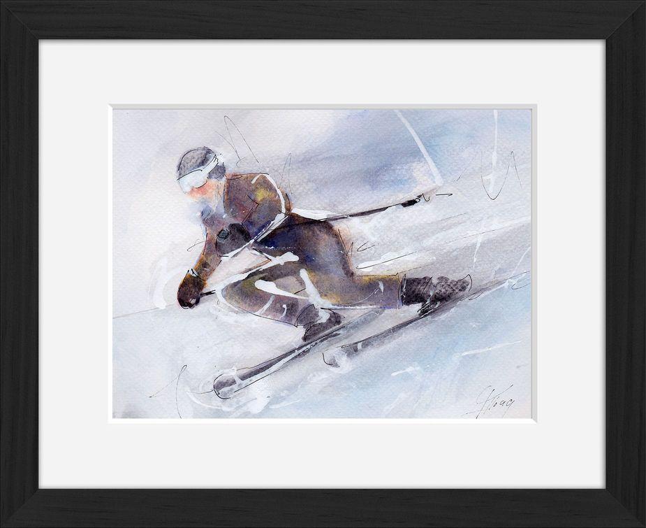 Peinture art et sport à l'aquarelle ski : tableau avec cadre d'un skieur dévalant la pente à toute vitesse