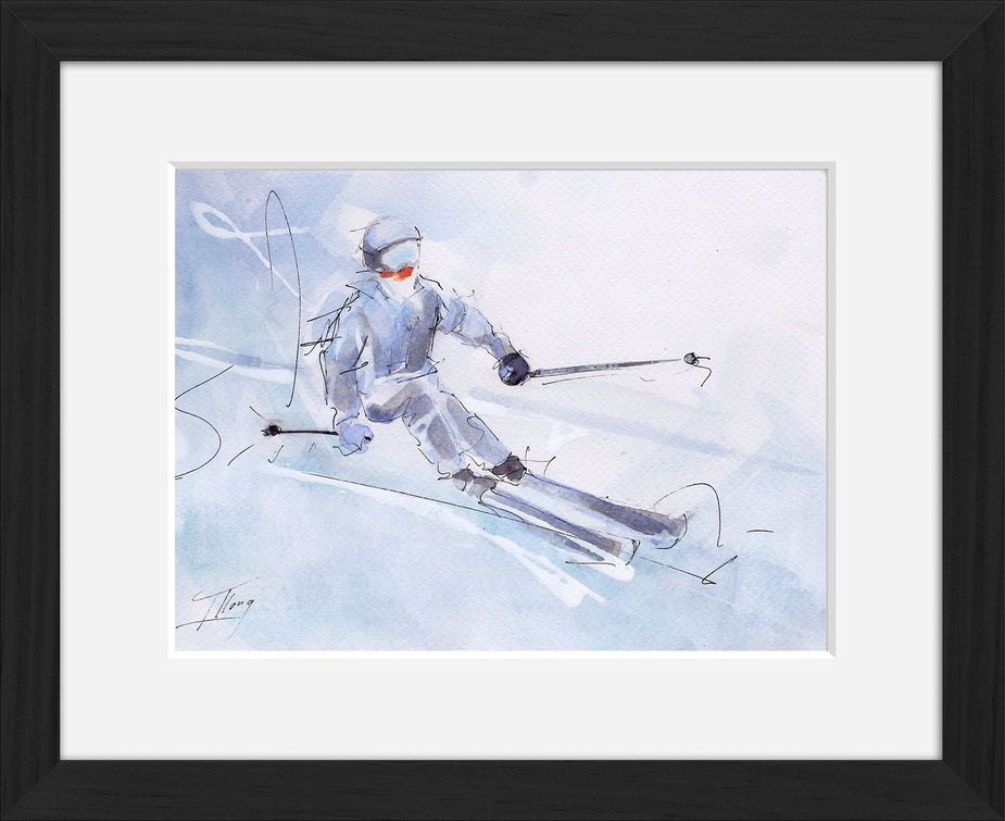 Framed ski watercolor painting by Lucie LLONG, sport painter