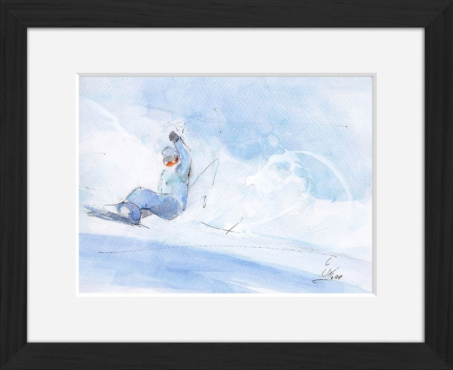 Framed snowboard watercolor painting by Lucie LLONG, sport painter