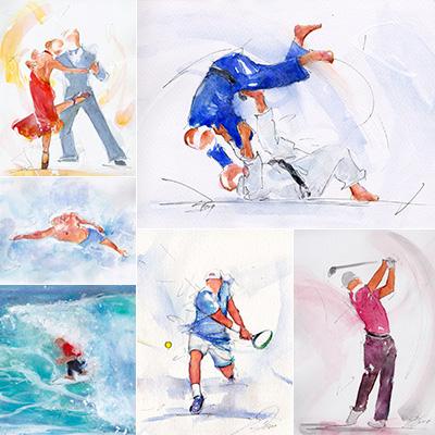 Exemples de peinture à l'aquarelle par Lucie LLONG, artiste du mouvement - sport, danse, paysage, POPART, régate