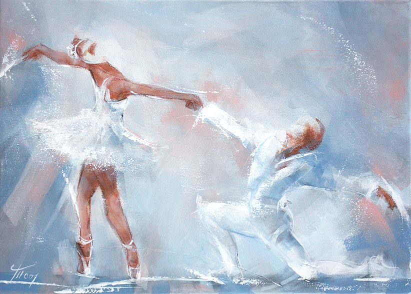 Dance and ballet art painting on canvas : Siegfried and Odette dancing - The swan lake