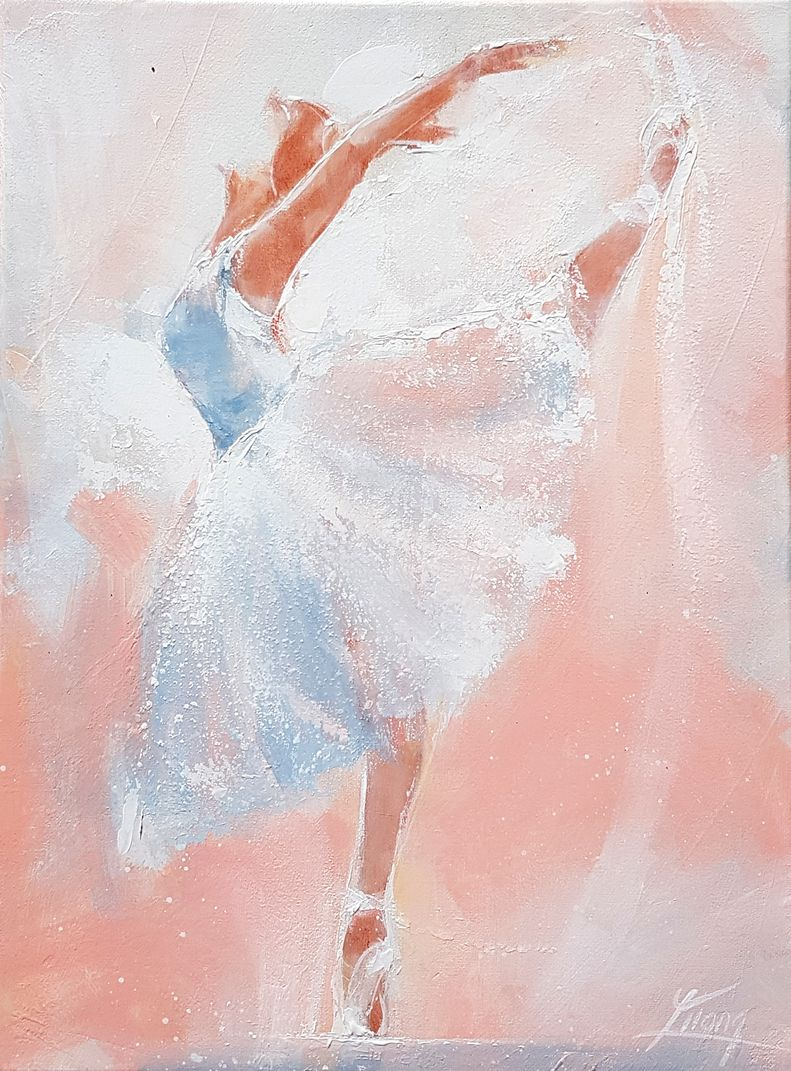 Dance ballet art painting on canvas : the swan lake on stage