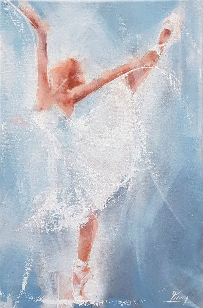 Dance and ballet art painting on canvas : elegant dancer on stage