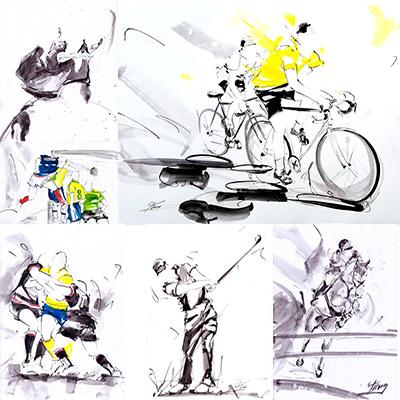 Exemples de peinture à l'encre par Lucie LLONG, artiste du mouvement - sport, danse, paysage, POPART, régate
