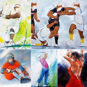 Exemples de peinture par Lucie LLONG, artiste du mouvement - sport, danse, paysage, POPART, régate