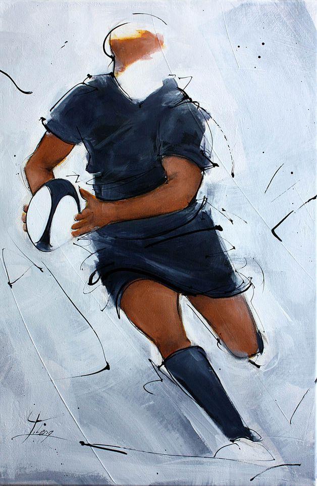 art peinture sport rugby : la passe sur un pas d'un all black à l'Eden Park