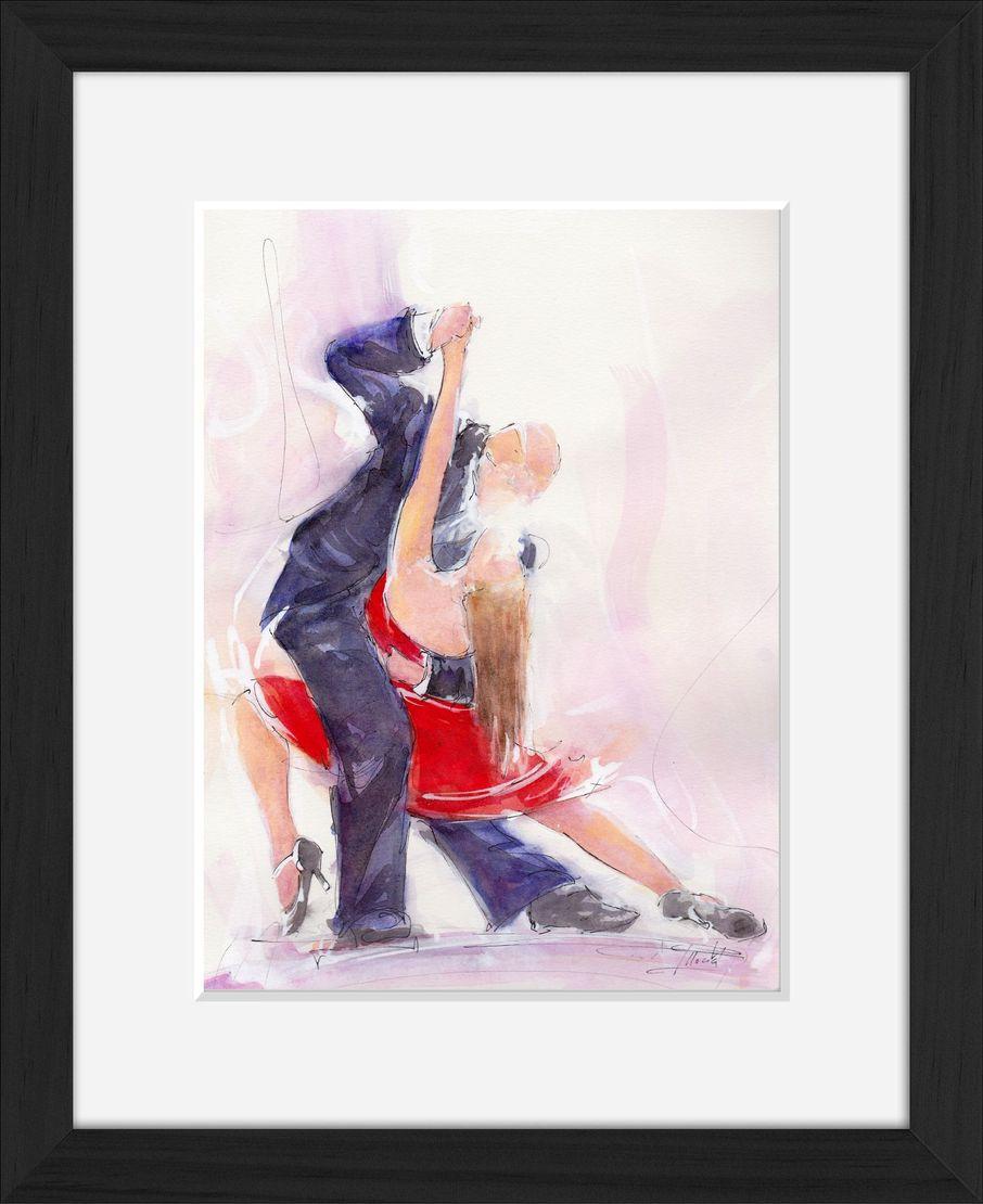 art painting watercolor dance tango : sensuel couple dancing a tango