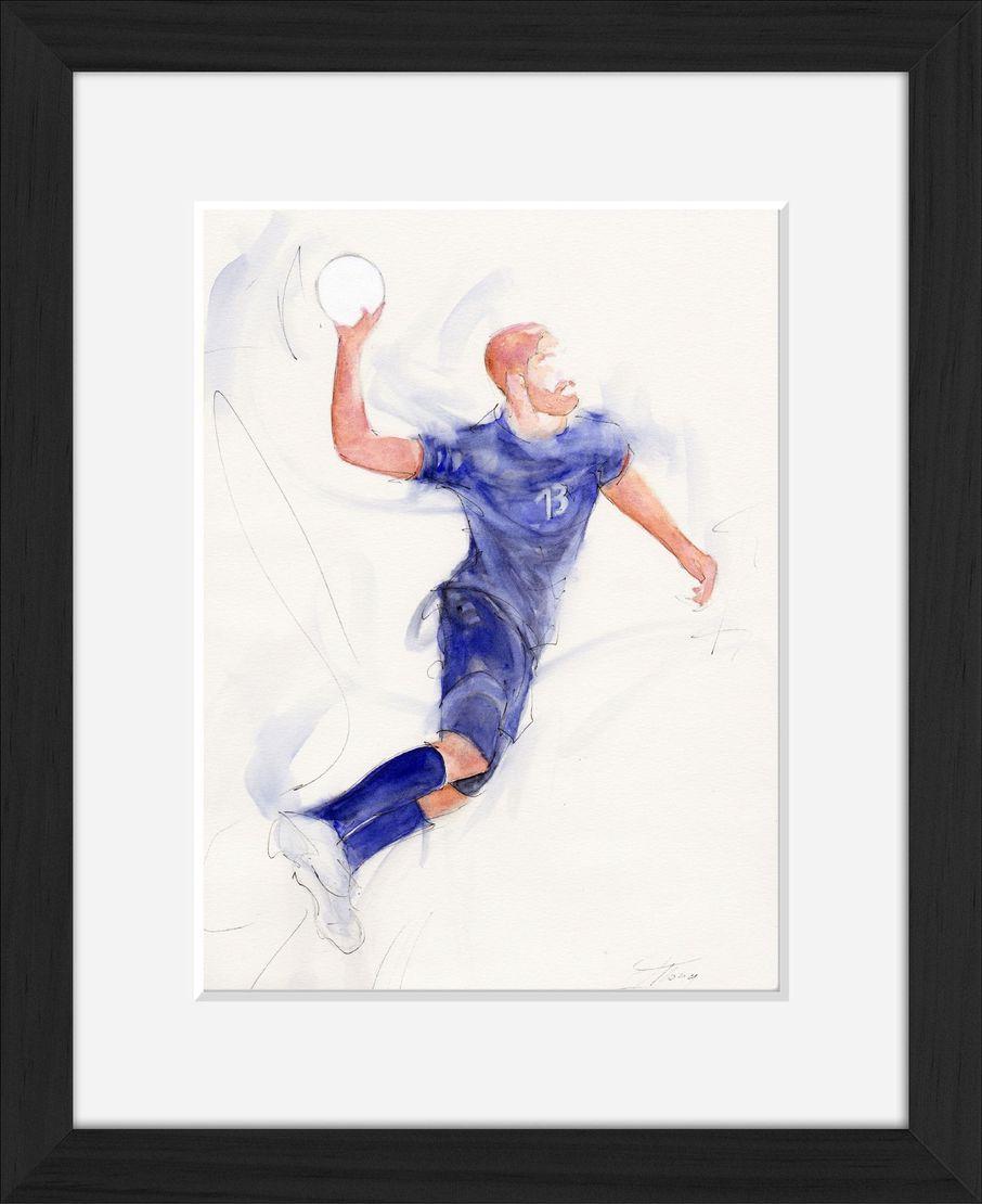 art peinture aquarelle sport handball : le tir précis de Nikola Karabatic lors d'un match de l'équipe de France de Handball (les experts)