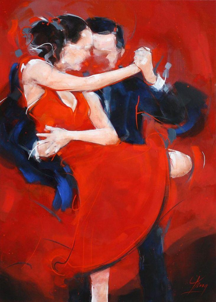 art peinture tableau Dance Tango argentin : la sensualité de ce couple de danseurs de tango enlacé