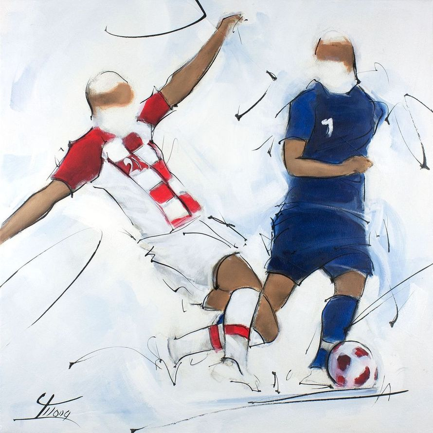 Sport painting - Football - Antoine griezmann runs and avoids tackle for french second world champion title