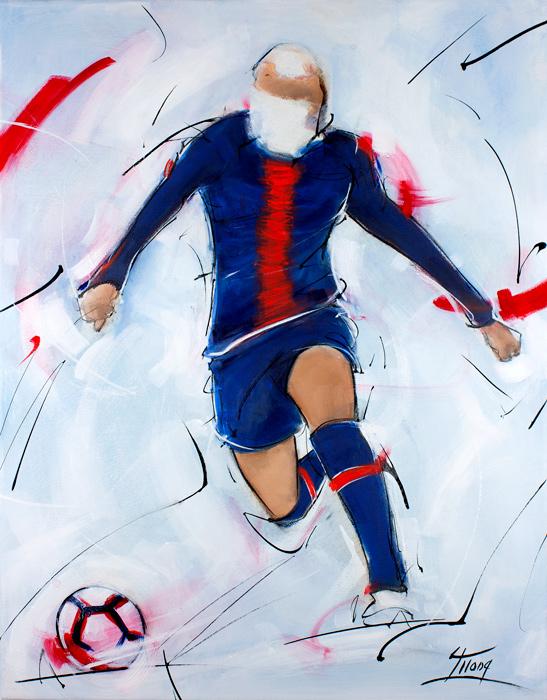 Peinture football : tableau de Killan Mbappé lors du match du PSG