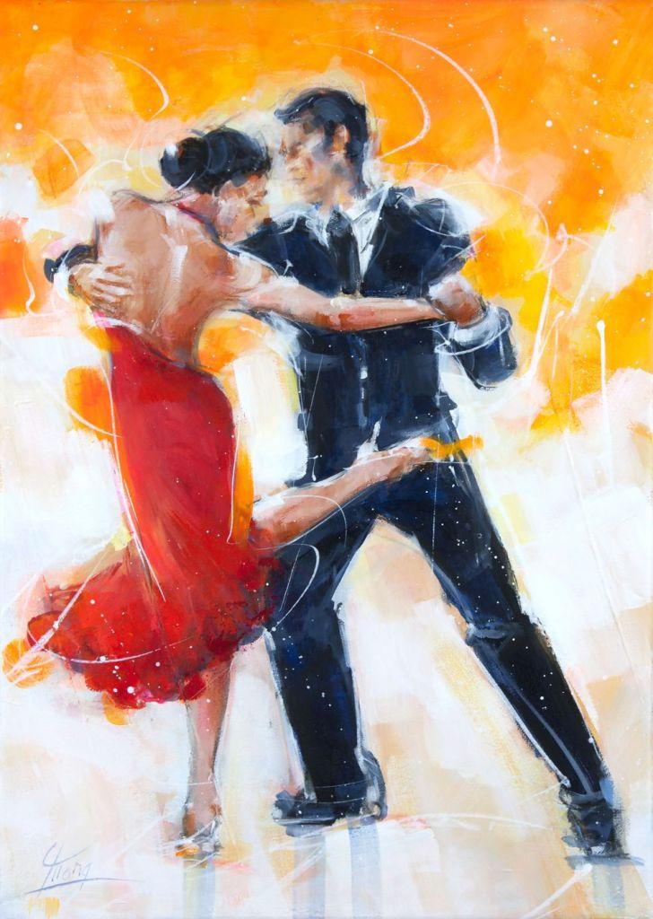 art peinture tableau danse tango : couple de danseurs de tango